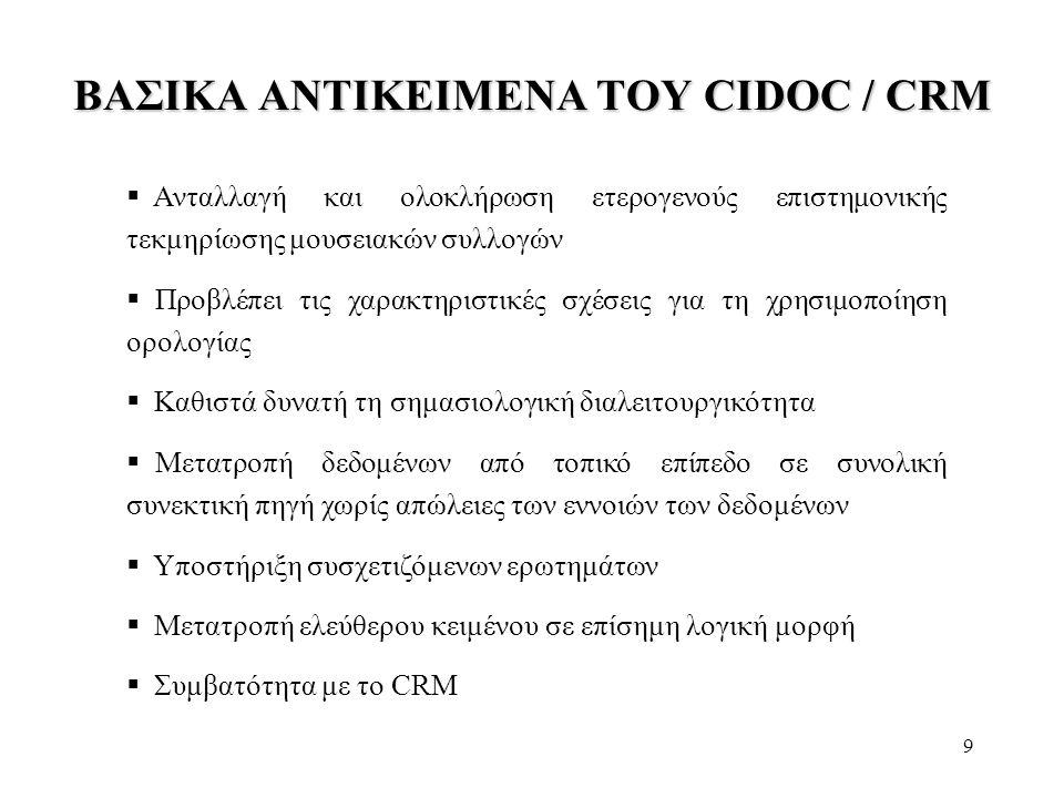 9 ΒΑΣΙΚΑ ΑΝΤΙΚΕΙΜΕΝΑ ΤΟΥ CIDOC / CRM  Ανταλλαγή και ολοκλήρωση ετερογενούς επιστημονικής τεκμηρίωσης μουσειακών συλλογών  Προβλέπει τις χαρακτηριστι