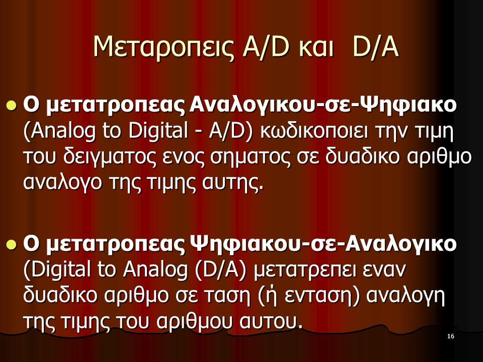 16 Μεταροπεις A/D και D/A Μεταροπεις A/D και D/A Ο μετατροπεας Αναλογικου-σε-Ψηφιακο (Analog to Digital - A/D) κωδικοποιει την τιμη του δειγματος ενος