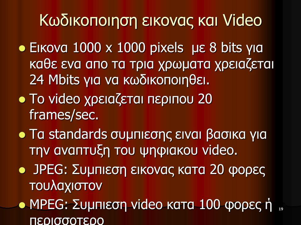 19 Κωδικοποιηση εικονας και Video Εικονα 1000 x 1000 pixels με 8 bits για καθε ενα απο τα τρια χρωματα χρειαζεται 24 Mbits για να κωδικοποιηθει. Εικον