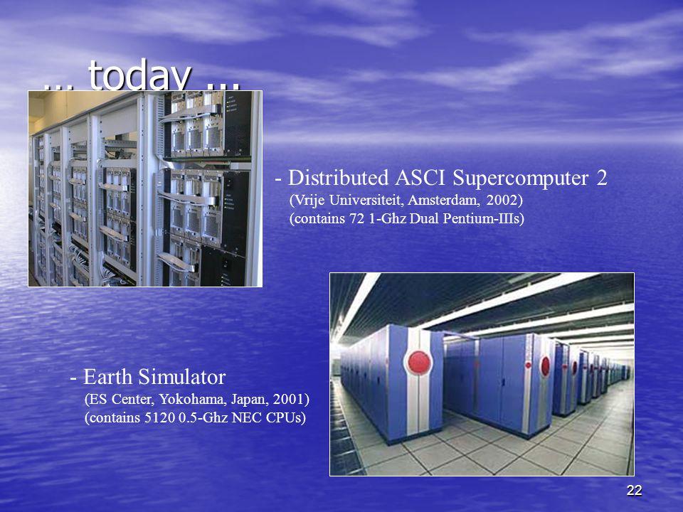 22 … today... - Distributed ASCI Supercomputer 2 (Vrije Universiteit, Amsterdam, 2002) (contains 72 1-Ghz Dual Pentium-IIIs) - Earth Simulator (ES Cen