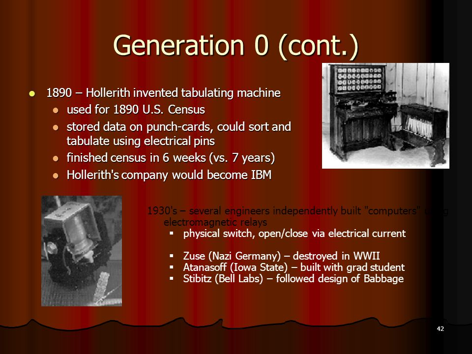 42 Generation 0 (cont.) 1890 – Hollerith invented tabulating machine 1890 – Hollerith invented tabulating machine used for 1890 U.S. Census used for 1