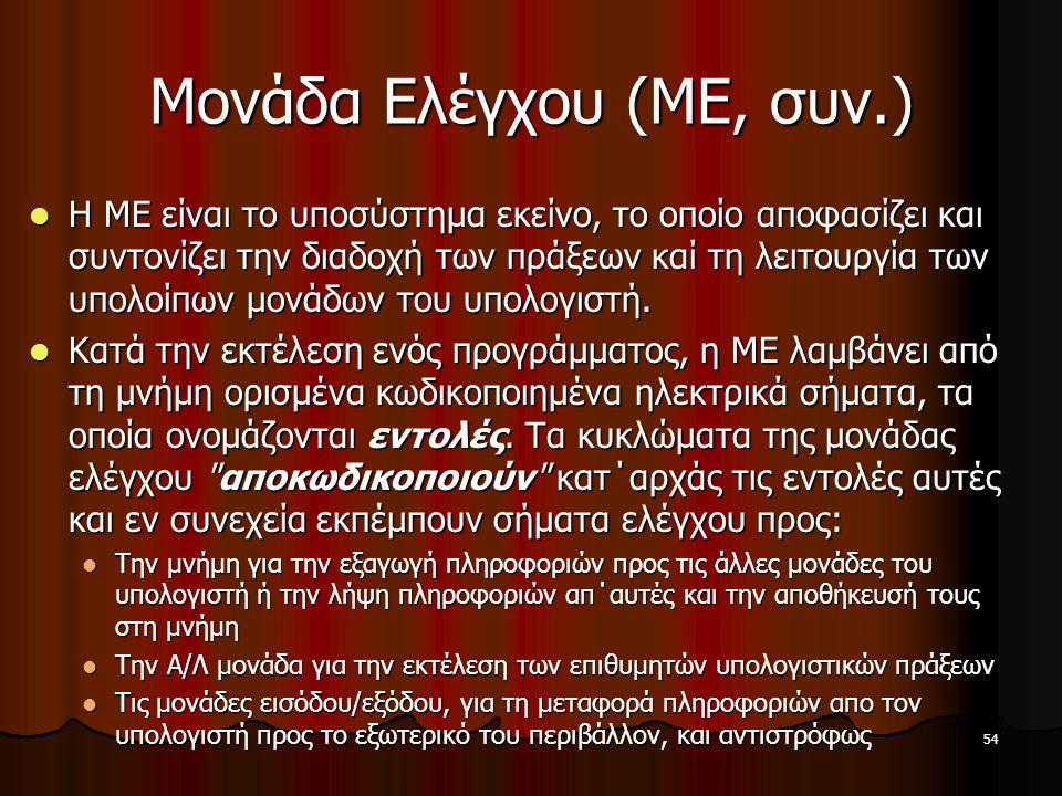 54 Μονάδα Ελέγχου (ΜΕ, συν.) Η ΜΕ είναι το υποσύστημα εκείνο, το οποίο αποφασίζει και συντονίζει την διαδοχή των πράξεων καί τη λειτουργία των υπολοίπ