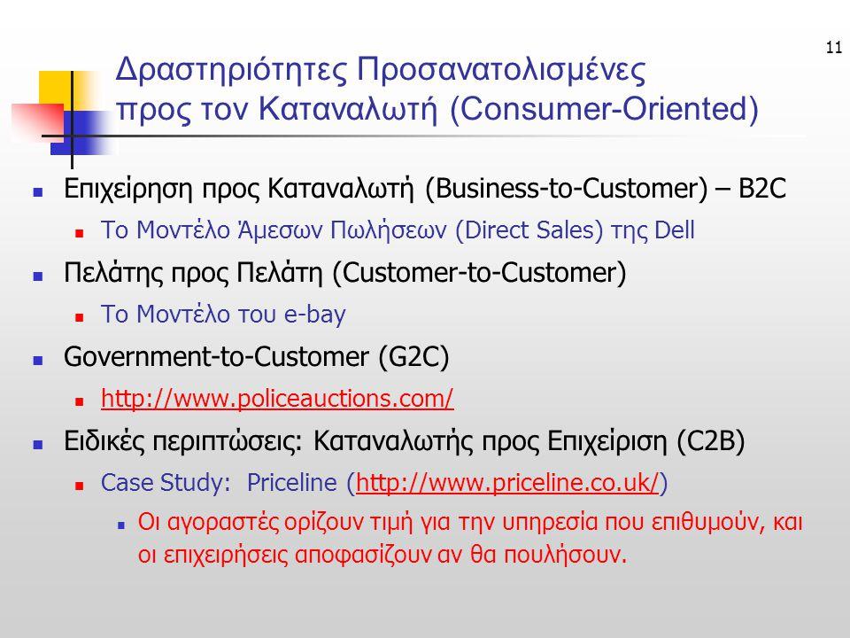 11 Δραστηριότητες Προσανατολισμένες προς τον Καταναλωτή (Consumer-Oriented) Επιχείρηση προς Καταναλωτή (Business-to-Customer) – B2C To Μοντέλο Άμεσων