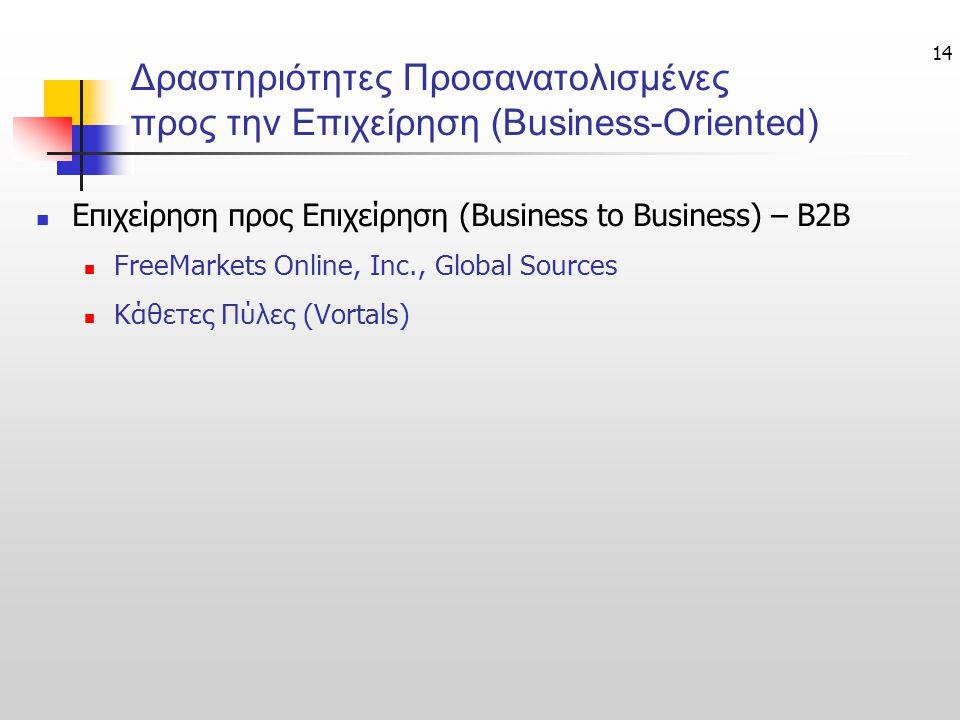 14 Δραστηριότητες Προσανατολισμένες προς την Επιχείρηση (Business-Oriented) Επιχείρηση προς Επιχείρηση (Business to Business) – B2B FreeMarkets Online