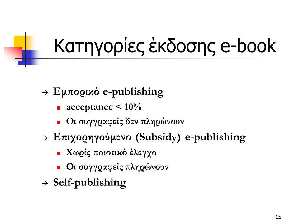 15 Κατηγορίες έκδοσης e-book  Εμπορικό e-publishing acceptance < 10% Οι συγγραφείς δεν πληρώνουν  Επιχορηγούμενο (Subsidy) e-publishing Χωρίς ποιοτικό έλεγχο Οι συγγραφείς πληρώνουν  Self-publishing