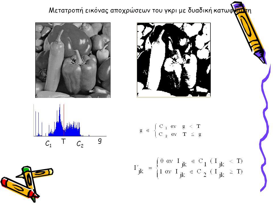 Μετατροπή εικόνας αποχρώσεων του γκρι με δυαδική κατωφλίωση Τ C1C1 C2C2 g