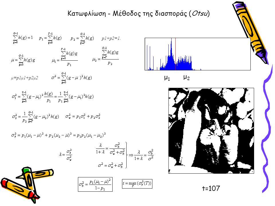 Κατωφλίωση - Μέθοδος της διασποράς (Otsu) p1+p2=1. μ=p1μ1+p2μ2 μ1μ1 μ2μ2 t=107