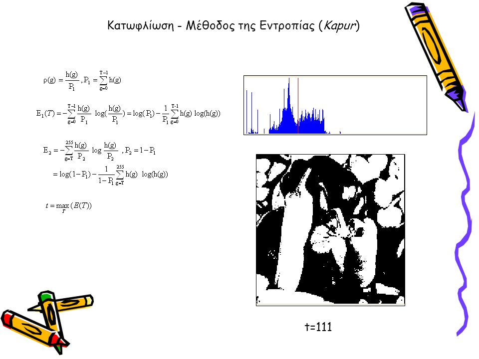 Κατωφλίωση - Μέθοδος της Εντροπίας (Kapur) t=111