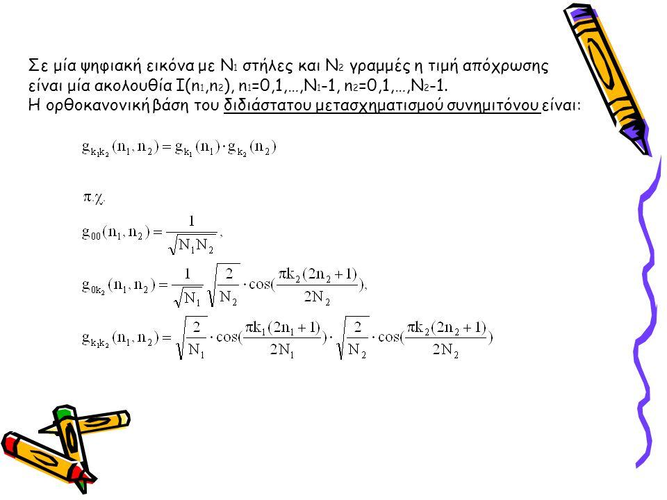 Σε μία ψηφιακή εικόνα με Ν 1 στήλες και Ν 2 γραμμές η τιμή απόχρωσης είναι μία ακολουθία Ι(n 1,n 2 ), n 1 =0,1,…,N 1 -1, n 2 =0,1,…,N 2 -1. Η ορθοκανο