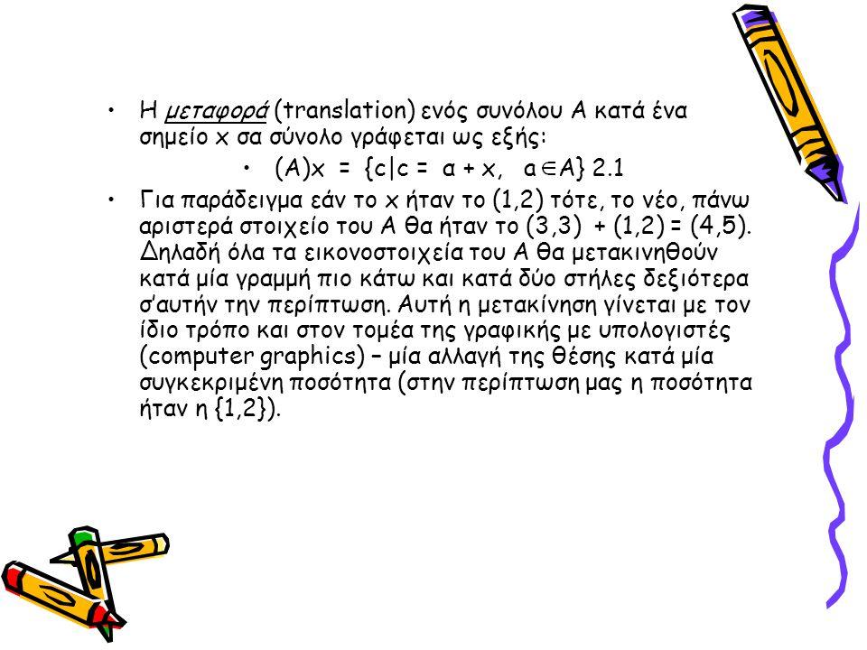 Η μεταφορά (translation) ενός συνόλου Α κατά ένα σημείο x σα σύνολο γράφεται ως εξής: (Α)x = {c|c = α + x, a A} 2.1 Για παράδειγμα εάν το x ήταν το (1