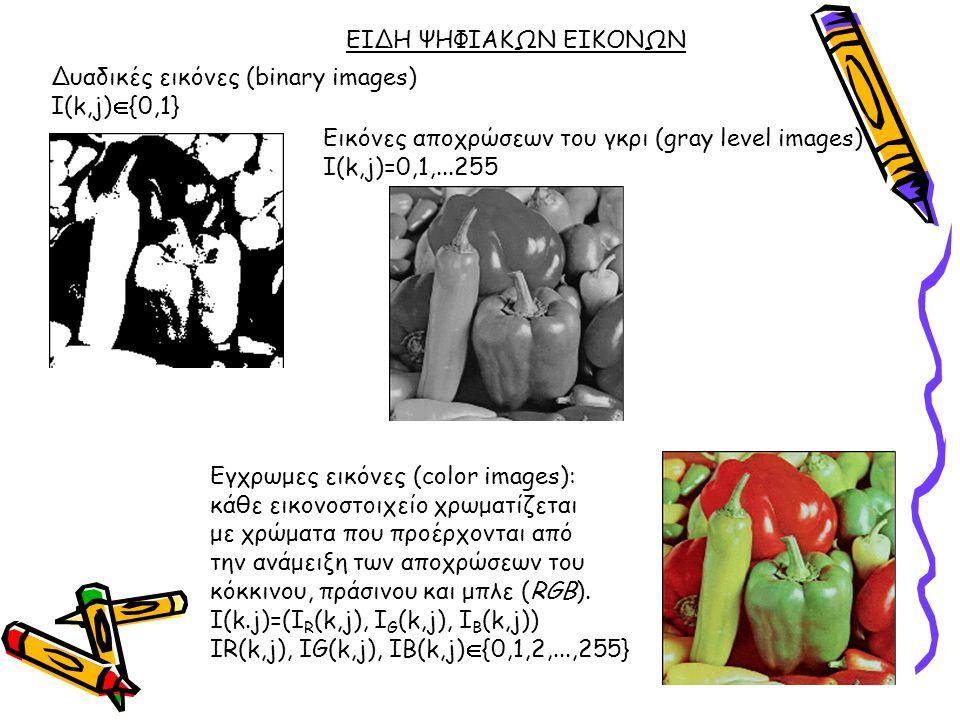 ΕΙΔΗ ΨΗΦΙΑΚΩΝ ΕΙΚΟΝΩΝ Eγχρωμες εικόνες (color images): κάθε εικονοστοιχείο χρωματίζεται με χρώματα που προέρχονται από την ανάμειξη των αποχρώσεων του