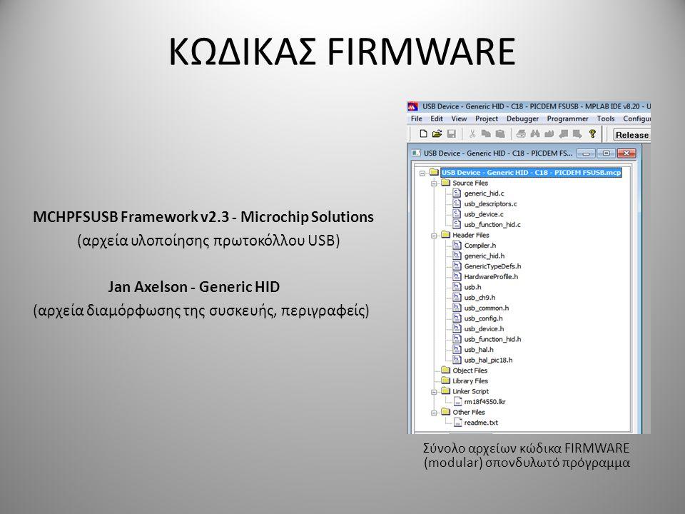 ΚΩΔΙΚΑΣ FIRMWARE MCHPFSUSB Framework v2.3 - Microchip Solutions (αρχεία υλοποίησης πρωτοκόλλου USB) Jan Axelson - Generic HID (αρχεία διαμόρφωσης της