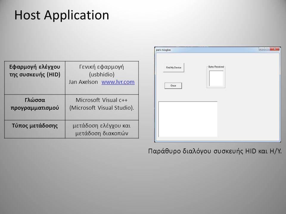 Host Application Παράθυρο διαλόγου συσκευής HID και Η/Υ. Εφαρμογή ελέγχου της συσκευής (HID) Γενική εφαρμογή (usbhidio) Jan Axelson www.lvr.comwww.lvr
