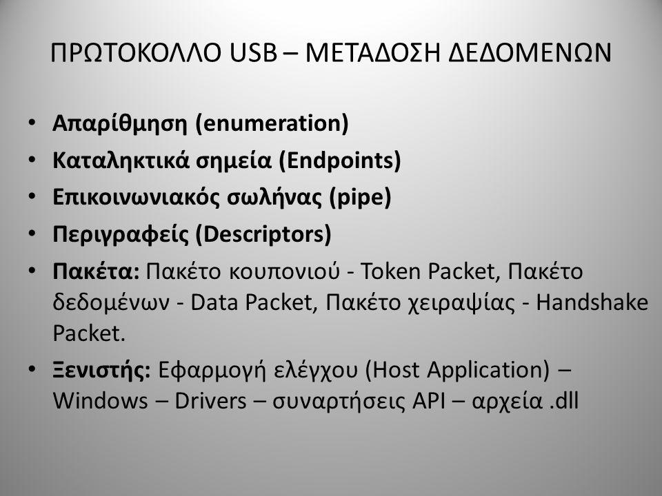 ΠΡΩΤΟΚΟΛΛΟ USB – ΜΕΤΑΔΟΣΗ ΔΕΔΟΜΕΝΩΝ Απαρίθμηση (enumeration) Καταληκτικά σημεία (Endpoints) Επικοινωνιακός σωλήνας (pipe) Περιγραφείς (Descriptors) Πα