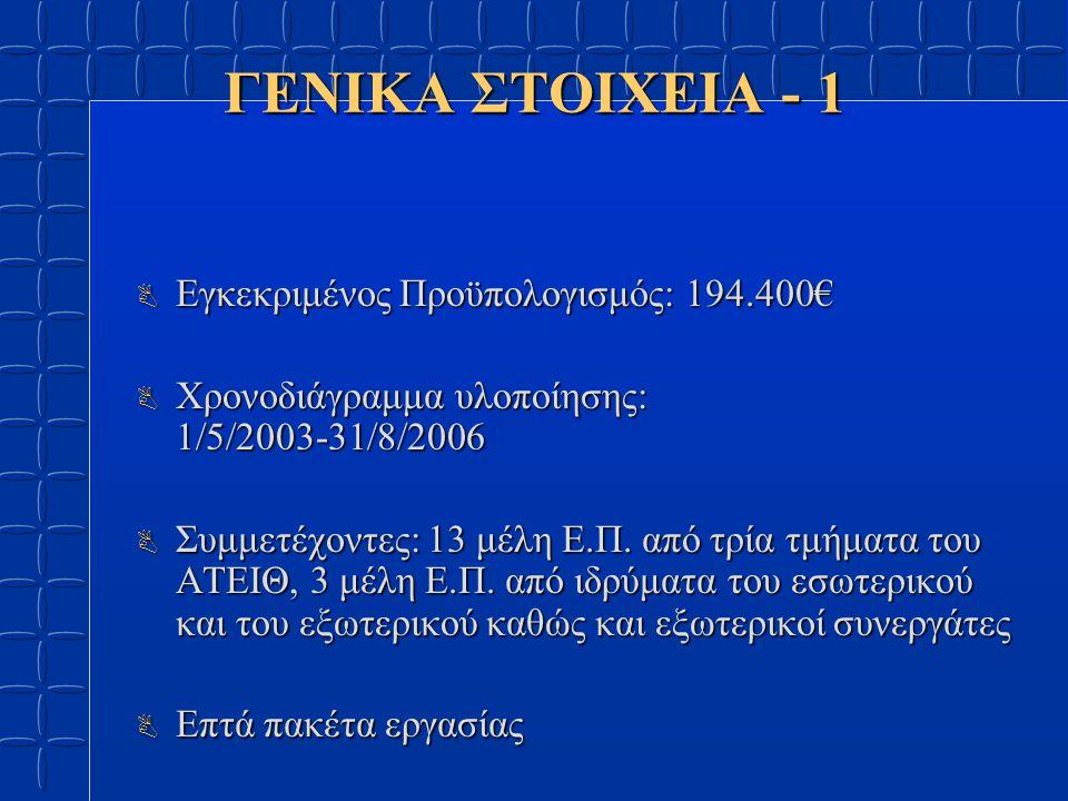 ΓΕΝΙΚΑ ΣΤΟΙΧΕΙΑ - 1 B Εγκεκριμένος Προϋπολογισμός: 194.400€ B Χρονοδιάγραμμα υλοποίησης: 1/5/2003-31/8/2006 B Συμμετέχοντες: 13 μέλη Ε.Π.