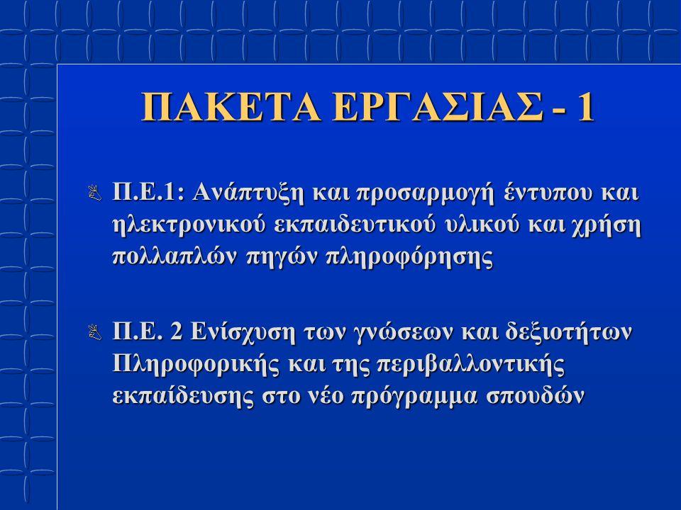 ΠΑΚΕΤΑ ΕΡΓΑΣΙΑΣ - 2 B Π.Ε.3 Ενίσχυση του εργαστηριακού & σεμιναριακού χαρακτήρα των σπουδών B Π.Ε.