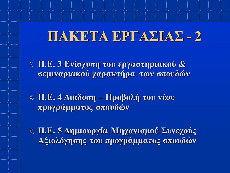 ΠΑΚΕΤΑ ΕΡΓΑΣΙΑΣ - 2 B Π.Ε. 3 Ενίσχυση του εργαστηριακού & σεμιναριακού χαρακτήρα των σπουδών B Π.Ε.
