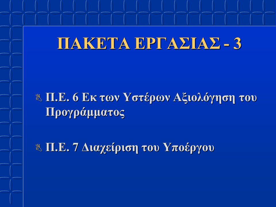 ΠΑΚΕΤΑ ΕΡΓΑΣΙΑΣ - 3 B Π.Ε. 6 Εκ των Υστέρων Αξιολόγηση του Προγράμματος B Π.Ε.