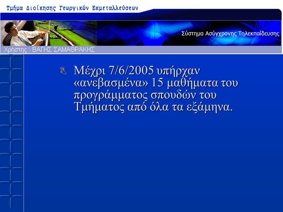 B Μέχρι 7/6/2005 υπήρχαν «ανεβασμένα» 15 μαθήματα του προγράμματος σπουδών του Τμήματος από όλα τα εξάμηνα.