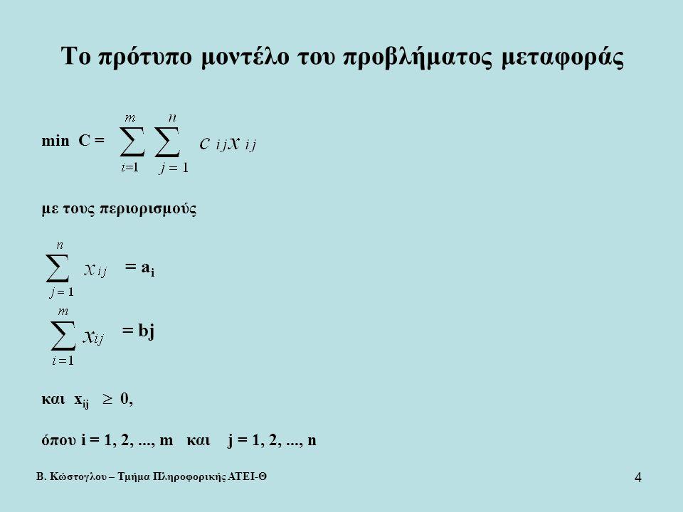4 Το πρότυπο μοντέλο του προβλήματος μεταφοράς min C = με τους περιορισμούς = bj και x ij  0, όπου i = 1, 2,..., m και j = 1, 2,..., n = a i Β. Κώστο