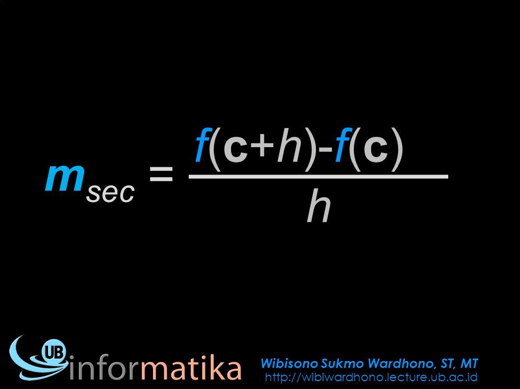 Wibisono Sukmo Wardhono, ST, MT http://wibiwardhono.lecture.ub.ac.id f(c+h)-f(c) m sec = h