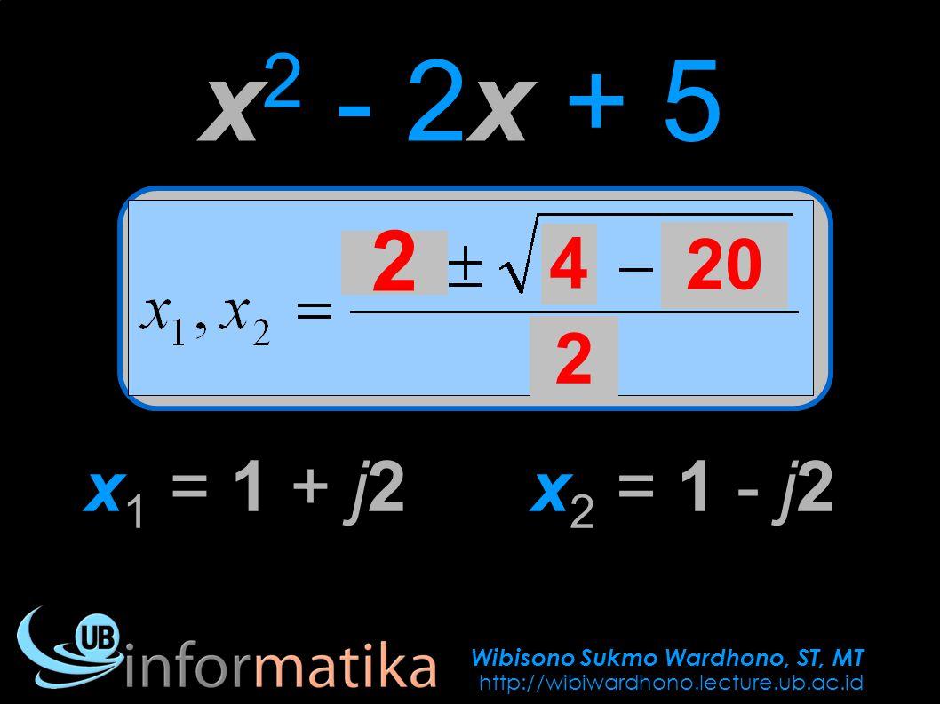 Wibisono Sukmo Wardhono, ST, MT http://wibiwardhono.lecture.ub.ac.id x 2 - 2x + 5 2 4 20 2 x 1 = 1 + j2x 2 = 1 - j2