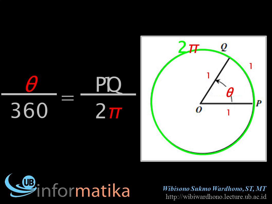 Wibisono Sukmo Wardhono, ST, MT http://wibiwardhono.lecture.ub.ac.id θ θ 360 PQ 1 1 1 2π2π = 1 2π2π