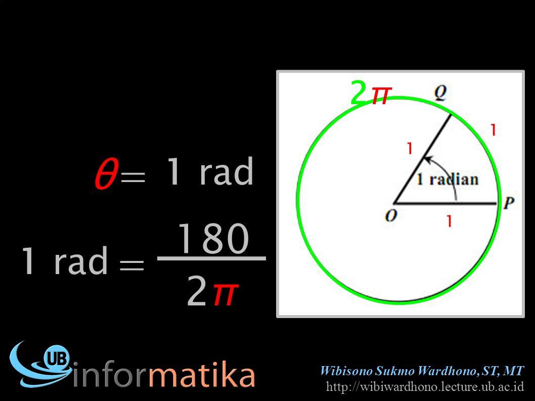 Wibisono Sukmo Wardhono, ST, MT http://wibiwardhono.lecture.ub.ac.id θ1 rad 1 1 1 2π2π = 180 2π2π = 1 rad