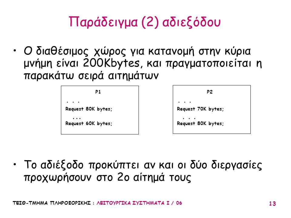 ΤΕΙΘ-ΤΜΗΜΑ ΠΛΗΡΟΦΟΡΙΚΗΣ : ΛΕΙΤΟΥΡΓΙΚΑ ΣΥΣΤΗΜΑΤΑ Ι / 06 13 Παράδειγμα (2) αδιεξόδου Ο διαθέσιμος χώρος για κατανομή στην κύρια μνήμη είναι 200Kbytes, κ