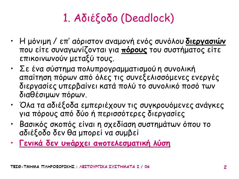 ΤΕΙΘ-ΤΜΗΜΑ ΠΛΗΡΟΦΟΡΙΚΗΣ : ΛΕΙΤΟΥΡΓΙΚΑ ΣΥΣΤΗΜΑΤΑ Ι / 06 33 1.Πρόληψη (Prevention) : Δεν επιτρέπεται ποτέ να συμβεί αδιέξοδο 2.Αποφυγή (Avoidance): Το σύστημα λαμβάνει απόφαση για να αποτρέψει μελλοντική κατάσταση αδιεξόδου 3.Ανίχνευση (Detection) & Επαναφορά (Recovery) : έλεγχος για αδιέξοδο (περιοδικά ή σποραδικά), στη συνέχεια επαναφορά 4.Χειροκίνητη μεσολάβηση: Ο χειριστής κάνει επανεκκίνηση του συστήματος, αν φαίνεται υπερβολικά αργό.