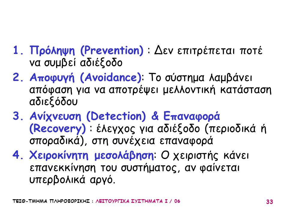 ΤΕΙΘ-ΤΜΗΜΑ ΠΛΗΡΟΦΟΡΙΚΗΣ : ΛΕΙΤΟΥΡΓΙΚΑ ΣΥΣΤΗΜΑΤΑ Ι / 06 33 1.Πρόληψη (Prevention) : Δεν επιτρέπεται ποτέ να συμβεί αδιέξοδο 2.Αποφυγή (Avoidance): Το σ