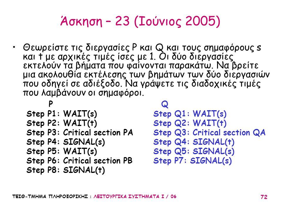 ΤΕΙΘ-ΤΜΗΜΑ ΠΛΗΡΟΦΟΡΙΚΗΣ : ΛΕΙΤΟΥΡΓΙΚΑ ΣΥΣΤΗΜΑΤΑ Ι / 06 72 Άσκηση – 23 (Ιούνιος 2005) Θεωρείστε τις διεργασίες P και Q και τους σημαφόρους s και t με α