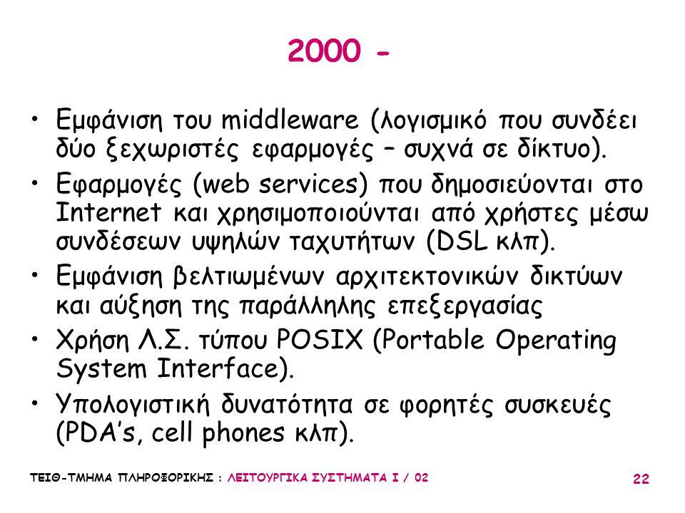 ΤΕΙΘ-ΤΜΗΜΑ ΠΛΗΡΟΦΟΡΙΚΗΣ : ΛΕΙΤΟΥΡΓΙΚΑ ΣΥΣΤΗΜΑΤΑ Ι / 02 22 2000 - Εμφάνιση του middleware (λογισμικό που συνδέει δύο ξεχωριστές εφαρμογές – συχνά σε δί