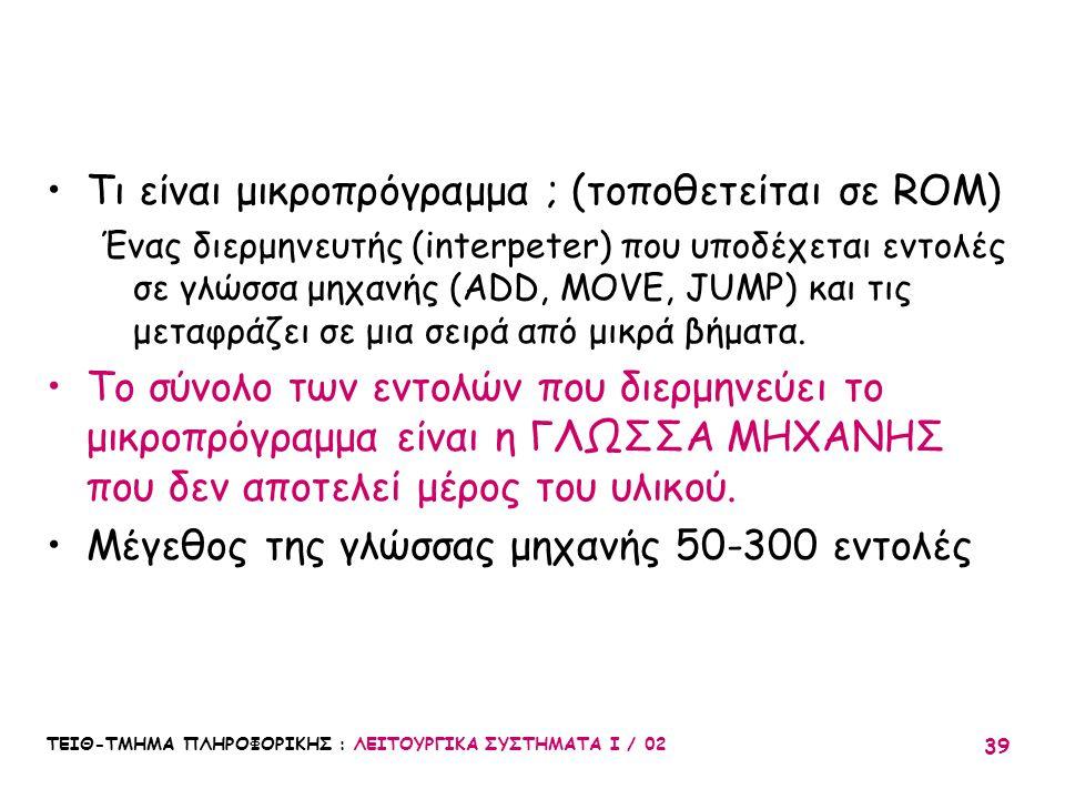 ΤΕΙΘ-ΤΜΗΜΑ ΠΛΗΡΟΦΟΡΙΚΗΣ : ΛΕΙΤΟΥΡΓΙΚΑ ΣΥΣΤΗΜΑΤΑ Ι / 02 39 Τι είναι μικροπρόγραμμα ; (τοποθετείται σε ROM) Ένας διερμηνευτής (interpeter) που υποδέχετα