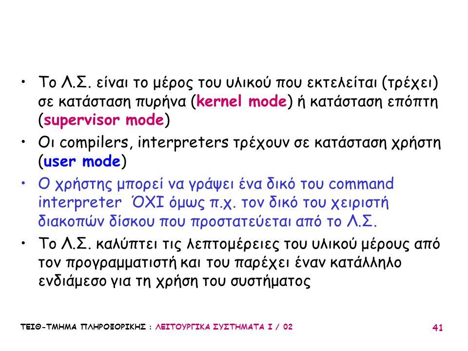 ΤΕΙΘ-ΤΜΗΜΑ ΠΛΗΡΟΦΟΡΙΚΗΣ : ΛΕΙΤΟΥΡΓΙΚΑ ΣΥΣΤΗΜΑΤΑ Ι / 02 41 Το Λ.Σ. είναι το μέρος του υλικού που εκτελείται (τρέχει) σε κατάσταση πυρήνα (kernel mode)