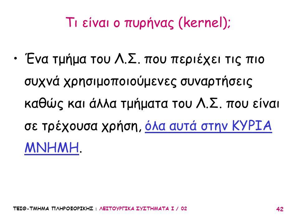 ΤΕΙΘ-ΤΜΗΜΑ ΠΛΗΡΟΦΟΡΙΚΗΣ : ΛΕΙΤΟΥΡΓΙΚΑ ΣΥΣΤΗΜΑΤΑ Ι / 02 42 Τι είναι ο πυρήνας (kernel); Ένα τμήμα του Λ.Σ. που περιέχει τις πιο συχνά χρησιμοποιούμενες