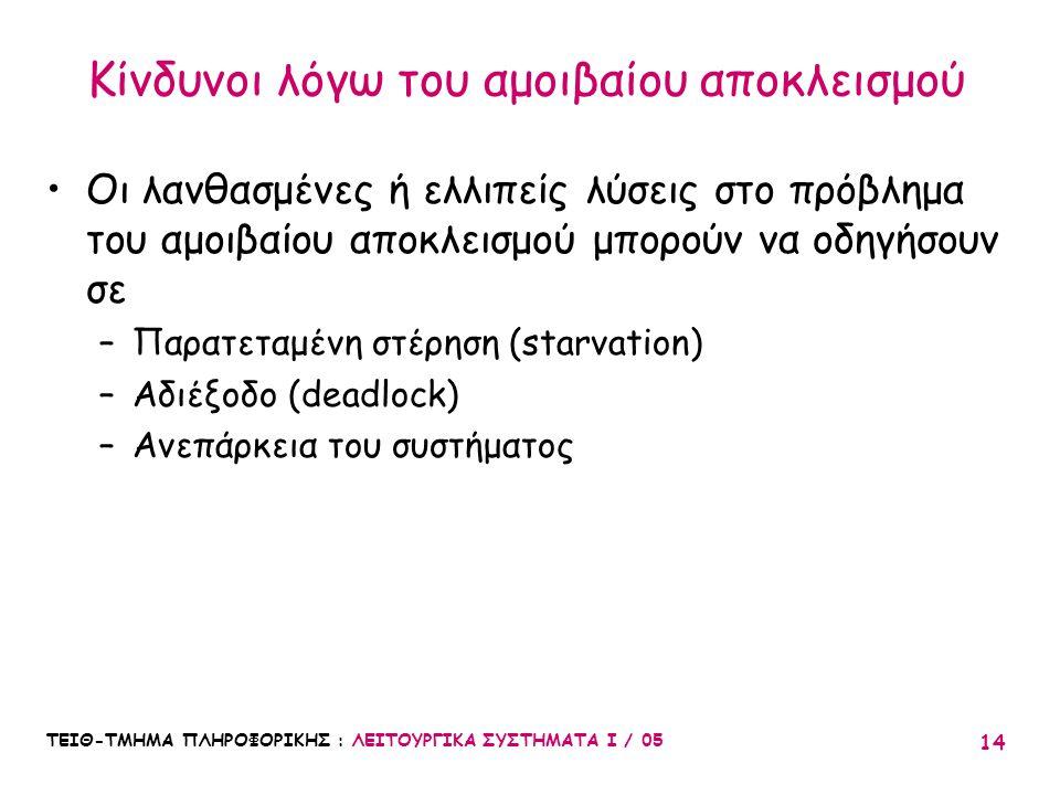 ΤΕΙΘ-ΤΜΗΜΑ ΠΛΗΡΟΦΟΡΙΚΗΣ : ΛΕΙΤΟΥΡΓΙΚΑ ΣΥΣΤΗΜΑΤΑ Ι / 05 14 Κίνδυνοι λόγω του αμοιβαίου αποκλεισμού Οι λανθασμένες ή ελλιπείς λύσεις στο πρόβλημα του αμ