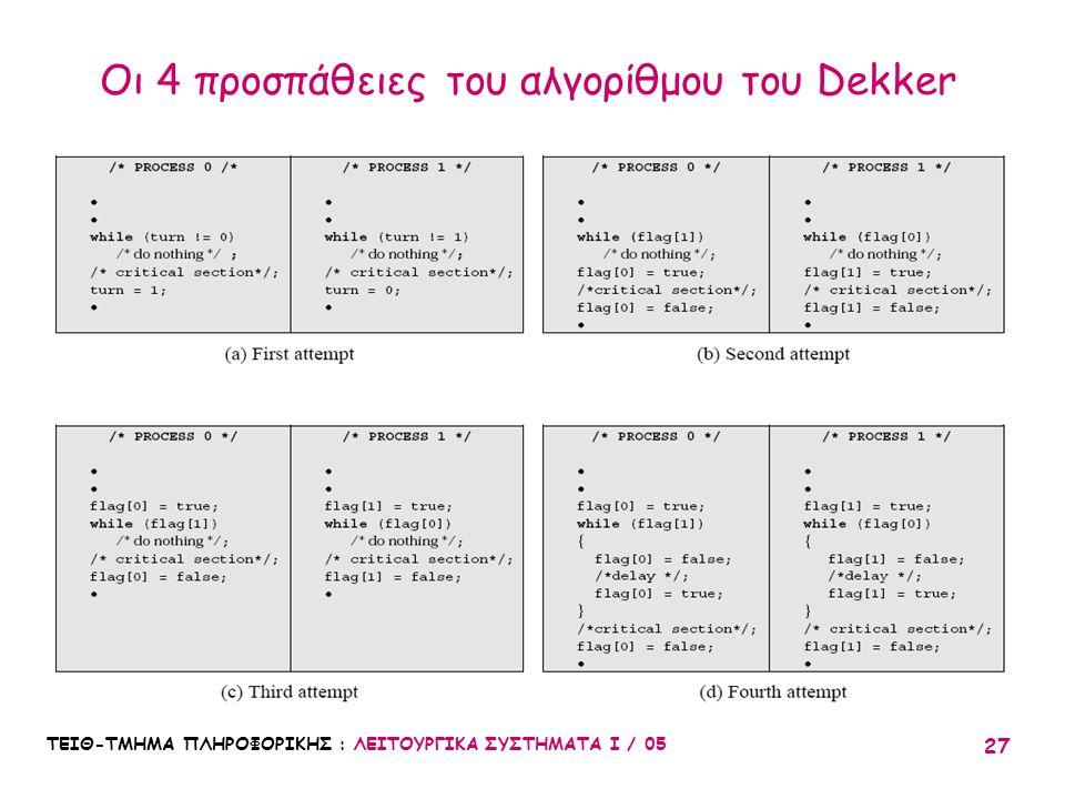 ΤΕΙΘ-ΤΜΗΜΑ ΠΛΗΡΟΦΟΡΙΚΗΣ : ΛΕΙΤΟΥΡΓΙΚΑ ΣΥΣΤΗΜΑΤΑ Ι / 05 27 Οι 4 προσπάθειες του αλγορίθμου του Dekker