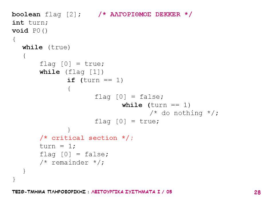 ΤΕΙΘ-ΤΜΗΜΑ ΠΛΗΡΟΦΟΡΙΚΗΣ : ΛΕΙΤΟΥΡΓΙΚΑ ΣΥΣΤΗΜΑΤΑ Ι / 05 28 boolean flag [2]; /* ΑΛΓΟΡΙΘΜΟΣ DEKKER */ int turn; void P0() { while (true) { flag [0] = tr