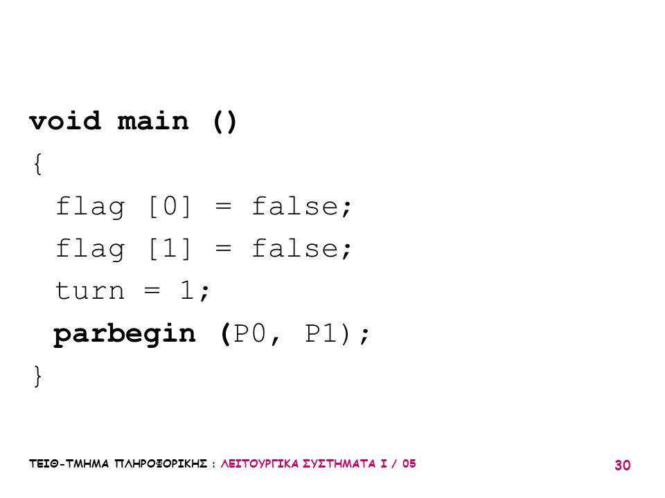 ΤΕΙΘ-ΤΜΗΜΑ ΠΛΗΡΟΦΟΡΙΚΗΣ : ΛΕΙΤΟΥΡΓΙΚΑ ΣΥΣΤΗΜΑΤΑ Ι / 05 30 void main () { flag [0] = false; flag [1] = false; turn = 1; parbegin (P0, P1); }