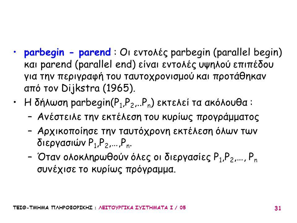 ΤΕΙΘ-ΤΜΗΜΑ ΠΛΗΡΟΦΟΡΙΚΗΣ : ΛΕΙΤΟΥΡΓΙΚΑ ΣΥΣΤΗΜΑΤΑ Ι / 05 31 parbegin - parend : Οι εντολές parbegin (parallel begin) και parend (parallel end) είναι εντ