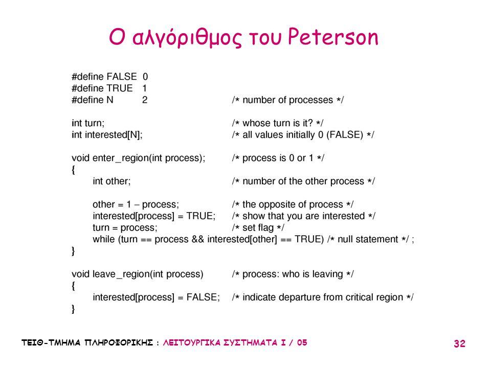 ΤΕΙΘ-ΤΜΗΜΑ ΠΛΗΡΟΦΟΡΙΚΗΣ : ΛΕΙΤΟΥΡΓΙΚΑ ΣΥΣΤΗΜΑΤΑ Ι / 05 32 Ο αλγόριθμος του Peterson