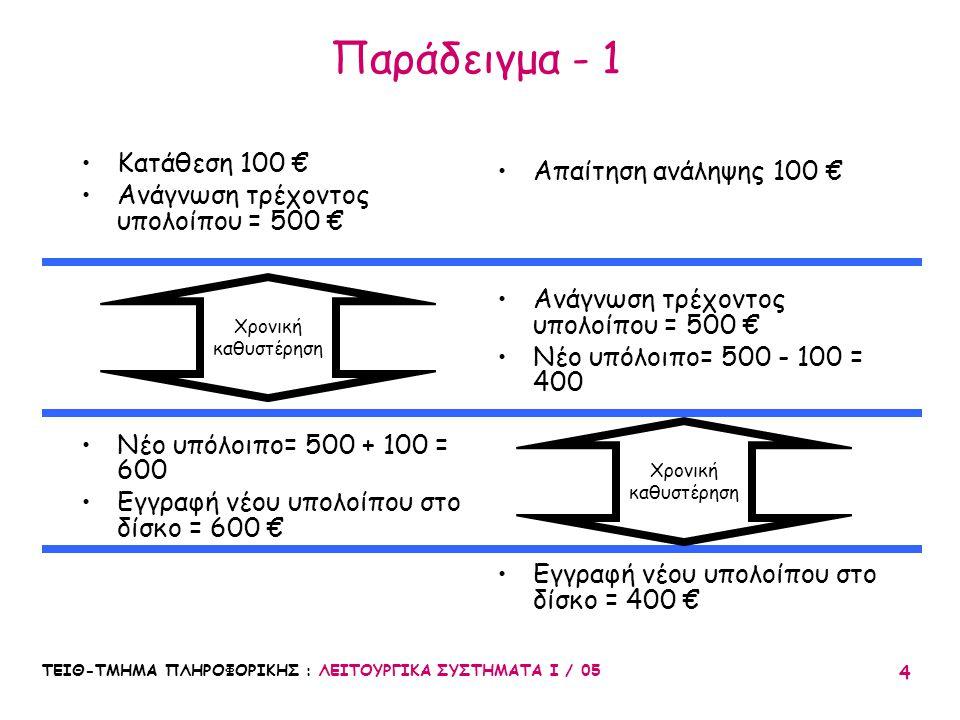 ΤΕΙΘ-ΤΜΗΜΑ ΠΛΗΡΟΦΟΡΙΚΗΣ : ΛΕΙΤΟΥΡΓΙΚΑ ΣΥΣΤΗΜΑΤΑ Ι / 05 4 Παράδειγμα - 1 Κατάθεση 100 € Ανάγνωση τρέχοντος υπολοίπου = 500 € Νέο υπόλοιπο= 500 + 100 =