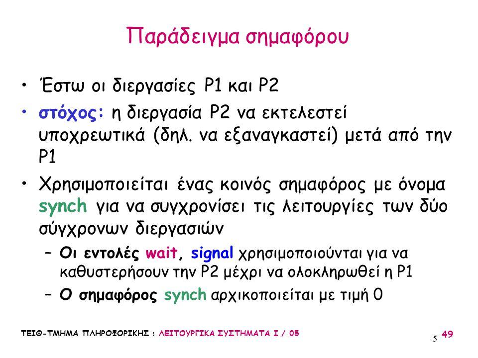 ΤΕΙΘ-ΤΜΗΜΑ ΠΛΗΡΟΦΟΡΙΚΗΣ : ΛΕΙΤΟΥΡΓΙΚΑ ΣΥΣΤΗΜΑΤΑ Ι / 05 49 5 Έστω οι διεργασίες P1 και P2 στόχος: η διεργασία P2 να εκτελεστεί υποχρεωτικά (δηλ. να εξα