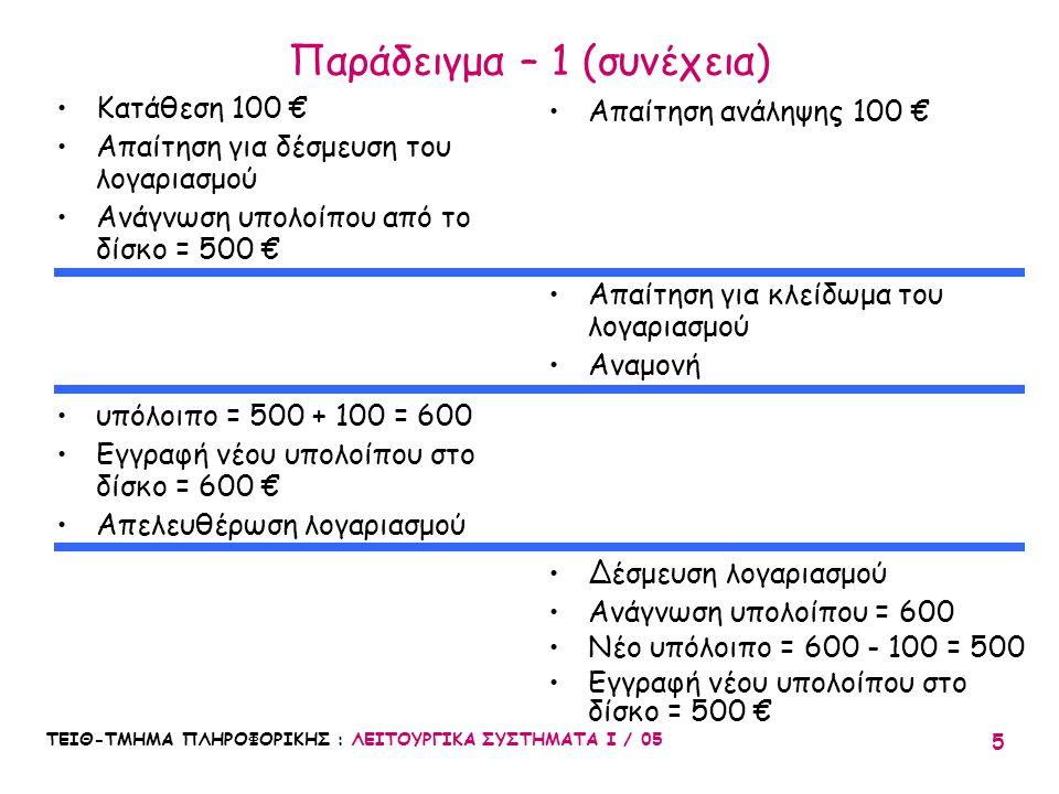 ΤΕΙΘ-ΤΜΗΜΑ ΠΛΗΡΟΦΟΡΙΚΗΣ : ΛΕΙΤΟΥΡΓΙΚΑ ΣΥΣΤΗΜΑΤΑ Ι / 05 5 Παράδειγμα – 1 (συνέχεια) Κατάθεση 100 € Απαίτηση για δέσμευση του λογαριασμού Ανάγνωση υπολο