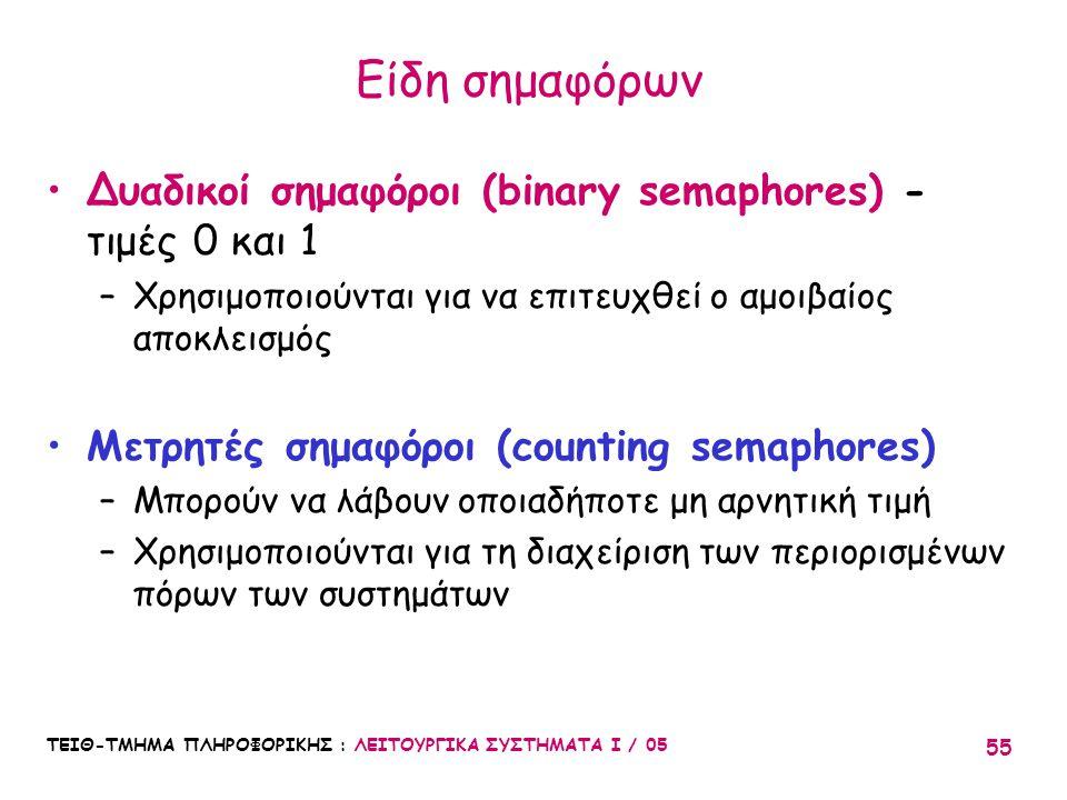 ΤΕΙΘ-ΤΜΗΜΑ ΠΛΗΡΟΦΟΡΙΚΗΣ : ΛΕΙΤΟΥΡΓΙΚΑ ΣΥΣΤΗΜΑΤΑ Ι / 05 55 Είδη σημαφόρων Δυαδικοί σημαφόροι (binary semaphores) - τιμές 0 και 1 –Χρησιμοποιούνται για