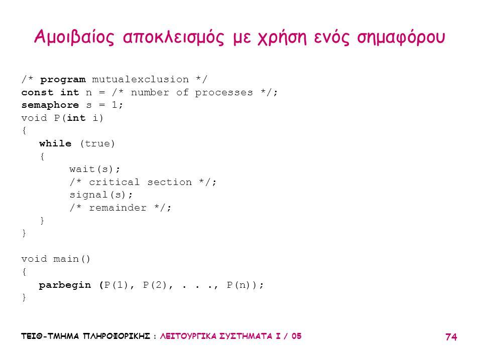 ΤΕΙΘ-ΤΜΗΜΑ ΠΛΗΡΟΦΟΡΙΚΗΣ : ΛΕΙΤΟΥΡΓΙΚΑ ΣΥΣΤΗΜΑΤΑ Ι / 05 74 Αμοιβαίος αποκλεισμός με χρήση ενός σημαφόρου /* program mutualexclusion */ const int n = /*