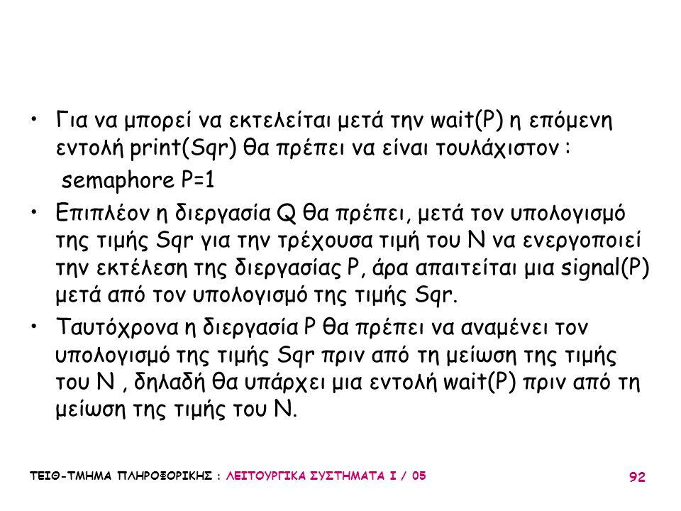 ΤΕΙΘ-ΤΜΗΜΑ ΠΛΗΡΟΦΟΡΙΚΗΣ : ΛΕΙΤΟΥΡΓΙΚΑ ΣΥΣΤΗΜΑΤΑ Ι / 05 92 Για να μπορεί να εκτελείται μετά την wait(P) η επόμενη εντολή print(Sqr) θα πρέπει να είναι
