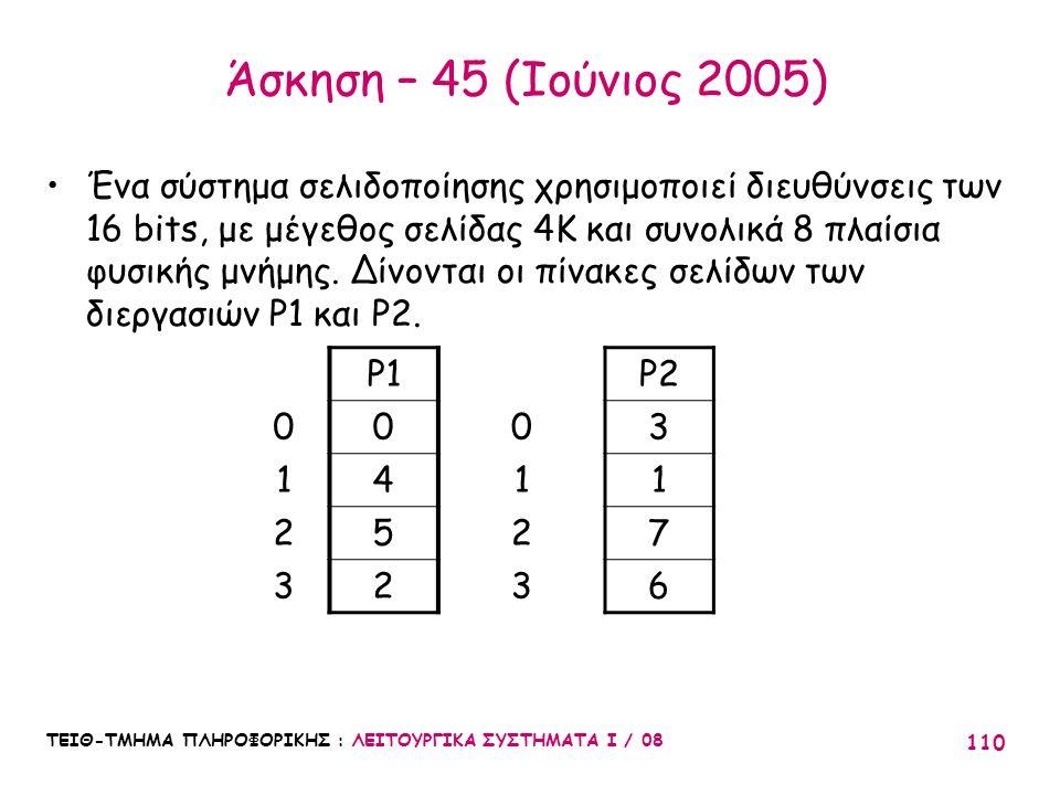 ΤΕΙΘ-ΤΜΗΜΑ ΠΛΗΡΟΦΟΡΙΚΗΣ : ΛΕΙΤΟΥΡΓΙΚΑ ΣΥΣΤΗΜΑΤΑ Ι / 08 110 Άσκηση – 45 (Ιούνιος 2005) Ένα σύστημα σελιδοποίησης χρησιμοποιεί διευθύνσεις των 16 bits,
