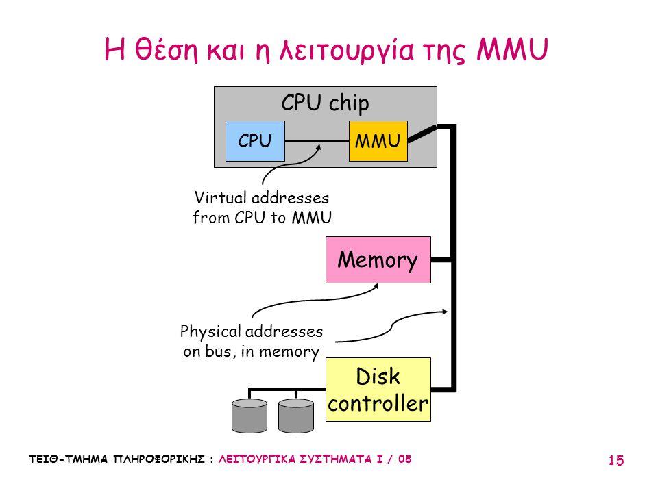ΤΕΙΘ-ΤΜΗΜΑ ΠΛΗΡΟΦΟΡΙΚΗΣ : ΛΕΙΤΟΥΡΓΙΚΑ ΣΥΣΤΗΜΑΤΑ Ι / 08 15 Η θέση και η λειτουργία της MMU CPU chip CPU Memory Disk controller MMU Virtual addresses fr